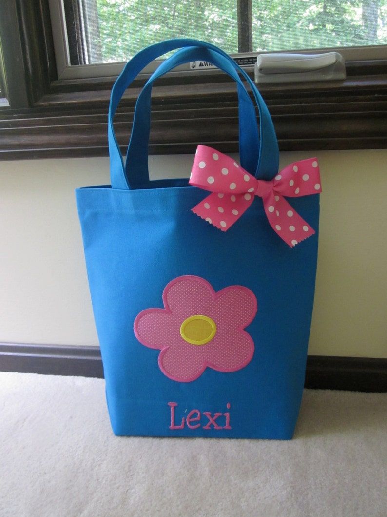 TOTE BAG Pretty Flower Personalized Toddler or Big Kid Tote