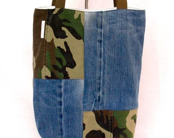 recycled denim & camo reversible tote