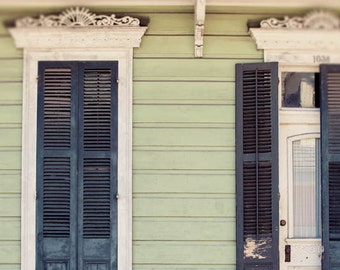 new orleans art print, creole cottage, green home decor, french quarter art, new orleans photography