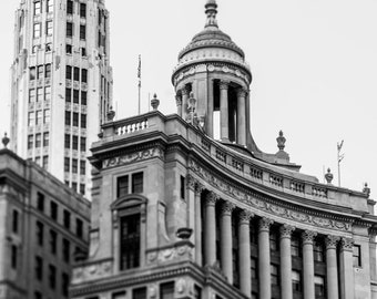 Downtown Chicago Illinois Architecture Photography - The Loop, Black and White Fine Art Print