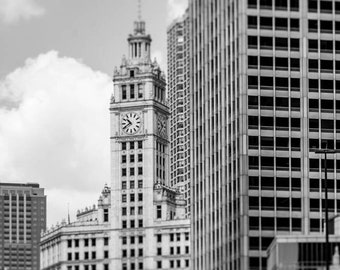 Chicago Illinois Architecture Photography - The Loop, Downtown, Black and White Fine Art Print