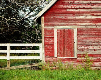 rustic red home decor, barn photography, farm decor, red wall art, old red barn, country photograph, farmhouse decor