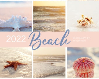 2022 Beach Desk Calendar, 5x7 Looseleaf Photography Calendar, Coastal Decor, Beach Photography, Starfish Art, Landscapes, Planner
