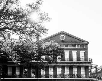 Black and White New Orleans Architecture Photograph, Pontalba Building Canvas Wall Art, Travel Photo, French Quarter