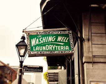 new orleans photography laundry room art bathroom decor french quarter sign print The Washing Well