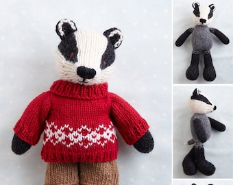 Toy knitting pattern for a Badger in a sweater and shorts