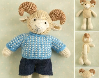 Toy knitting pattern for a boy ram with a nubby sweater and shorts