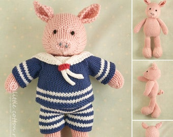 Toy knitting pattern for a boy pig in a sailor suit