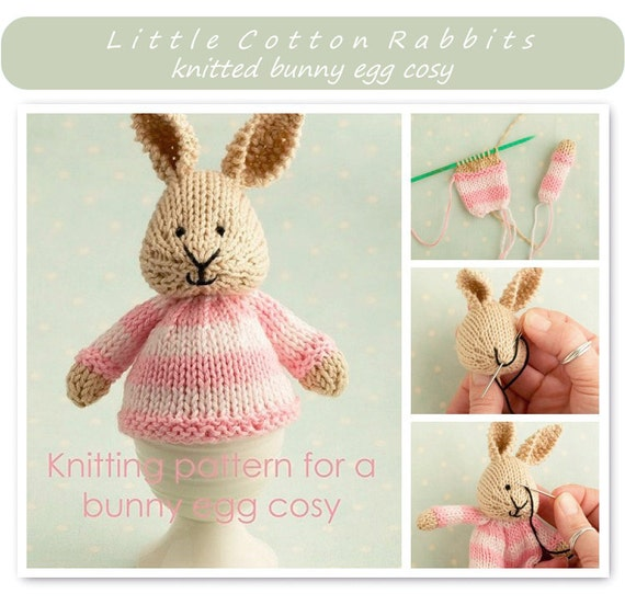 Toy knitting pattern for a bunny egg cosy Easter bunny | Etsy