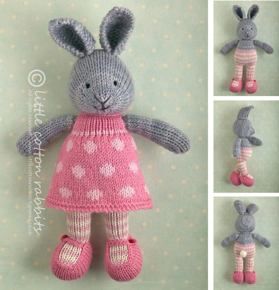 Toy Knitting Pattern For A Bunny Rabbit Girl In A Dotty Dress Etsy