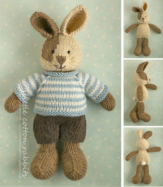 Toy Knitting Pattern For A Bunny Rabbit With A Piebald Patch Etsy