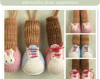 Toy knitting pattern for Little Cotton Rabbit animals  alternative feet