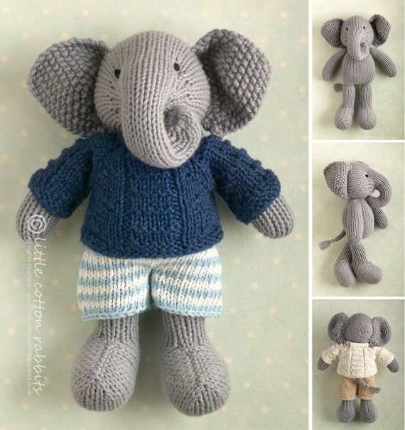 Toy knitting pattern for a boy elephant in a textured sweater | Etsy