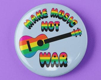 "Make Music Not War Ukulele Uke Button 1.25"" or 2.25"" Pinback Pin Button Badge Cool Ukulele Gift Accessories for Strap Bag or Case"