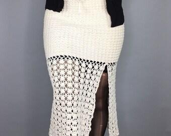 Vintage 90s crochet midi skirt grunge fairy