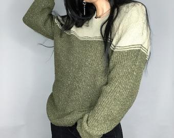 purple /& black wool topOversized pullover winter sweaterMade in Italy Vintage 90/'s print knit wool sweaterCrew-neck knit jerseyGreen