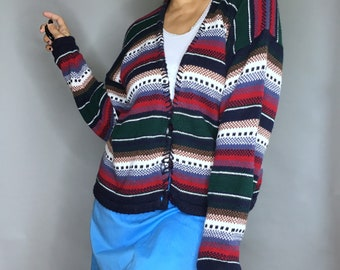 Vintage 90s striped cardigan by Paris Sport Club M