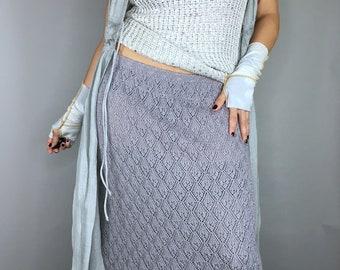 Vintage Granny gray knit pointelle midi skirt cottagecore
