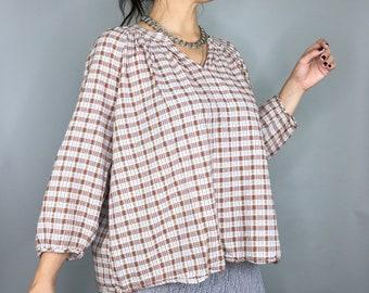 Vintage brown plaid cottagecore Mori girl blouse tunic