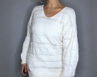 Vintage 90s white cable knit sweater by Hunt Club Petite