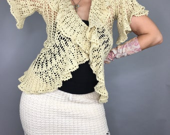 Vintage 90s Betsey Johnson Doily crochet cardigan shabby mori girl