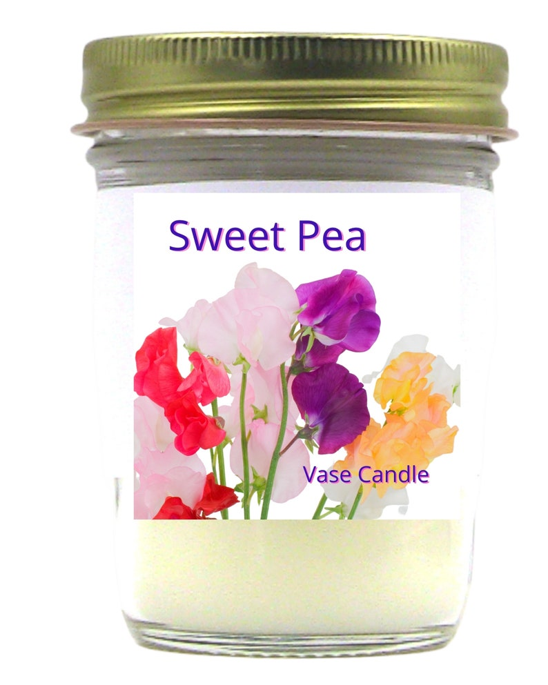 Sweet Pea Vase Candle Jar Self-trimming Wick SoyParaffin Blend 50 Hour Burn Time Paper Core Color Free Poured to Order