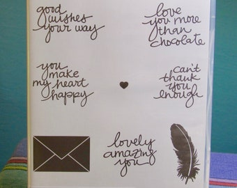 NEW!! RARE!! Stampin' Up! Lovely Amazing You retired photopolymer stamp set (8)