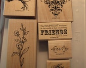 Used Like New! Friends 24-7 Stampin' Up! retired rubber stamp set (6 wood mount stamps)