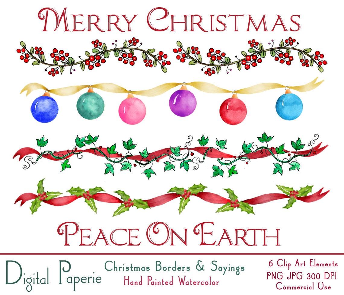 Weihnachten Aquarelle Grenzen Clip Kunstkarte Making | Etsy