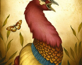 Bird art print - Pavo Simulacrum  - Limited Edition Print - Watercolor painting, bird print