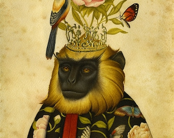 Monkey Art Print - Natural History -  Limited Edition Print high quality giclee