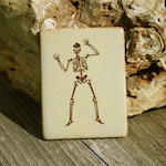 Dancing skeleton - small handmade ceramic tile with permanent decal image fired on - halloween decor or everyday fun