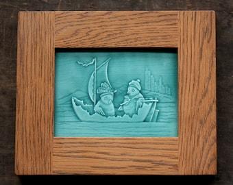 Afternoon Sail - Handmade Ceramic Tile set in Oak Frame