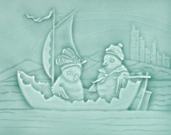 Afternoon Sail in an Eggshell Boat - Handmade Ceramic Tile
