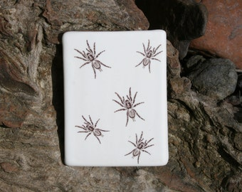 Spiders, lots of spiders - tiny tarantulas - halloween refrigerator decor - handmade ceramic tile magnet or ornament  with decal images