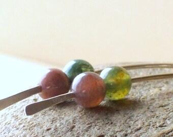 Long Jasper Earrings - Green and Pink Stone Earrings - Hammered Sterling Silver Earrings - Gemstone Earrings - Chakra Earrings - Minimalist