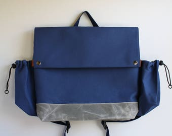 urban flip top backpack with waxed canvas bottom - blueberry + metal