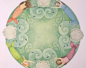 Mermaid Placemats papers pack of 12 by Elizabeth Foster