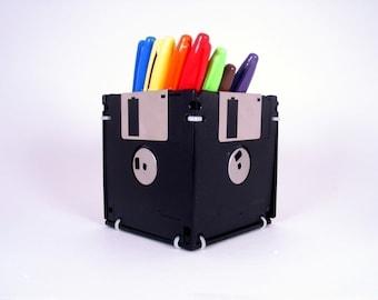Floppy Disk Pen and Pencil Holder (BLACK)