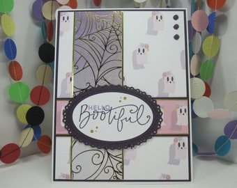 Hello Bootiful Card - ghost hello card - hello beautiful - elegant halloween - hello ghost - halloween pun - just because - happy haunting
