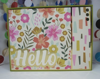 Cheerful Floral Hello Card - summer floral hello card - just saying hello - card for any occasion - just because - happy mail - gold accents