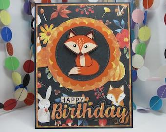 Happy Birthday Fox Card - bunny and fox birthday - autumn birthday -  fox birthday - bunny birthday - fall birthday - comfy cozy birthday