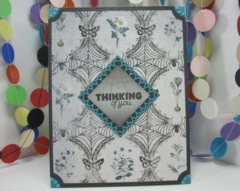 Thinking of You Card - spiders butterflies and flowers - elegantly spooky halloween anniversary - blue gray black - gothic thinking of you