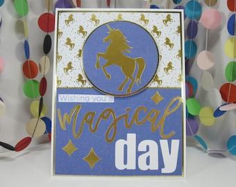 Wishing You A Magical Day Card - birthday unicorn - gold unicorn -  purple unicorn - purple gold white - magical birthday