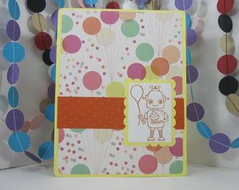 Robot Party Card - Robot balloon - orange yellow white - colorful robot birthday card - birthday robot - robot birthday party