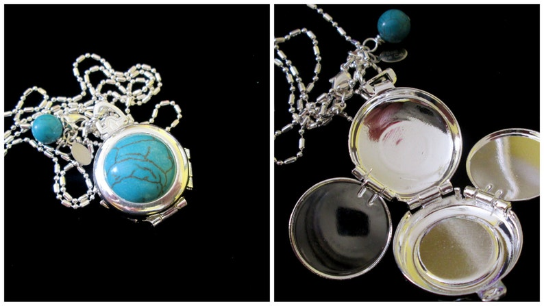 Vintage 4 Picture Silver Locket Turquoise cabochon Turquoise image 0