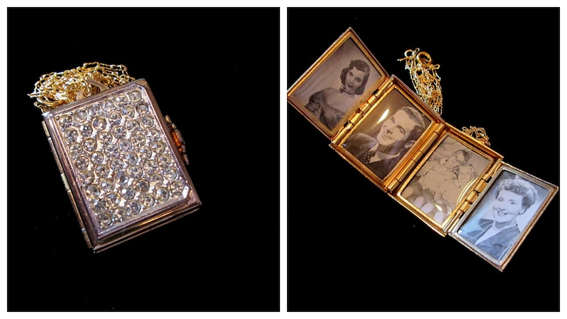 Vintage Coro 4 Picture Locket Necklace Gold Rhinestones image 0