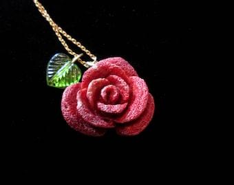 Sponge Coral Rose Necklace