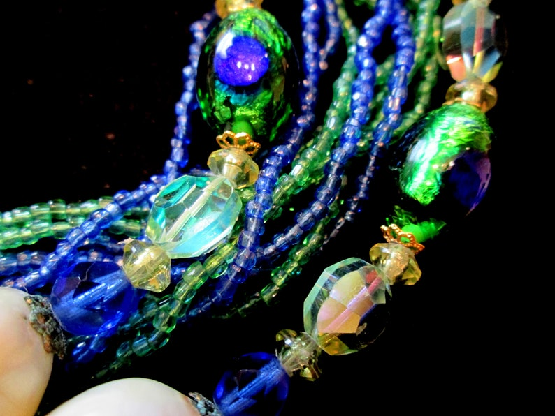 Vintage Peacock Bridal Set Green White Clip on Earrings Blue Pearls Necklace