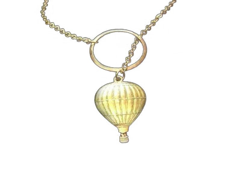 Through the Clouds Hot Air Balloon Necklace Lariat Gold image 0